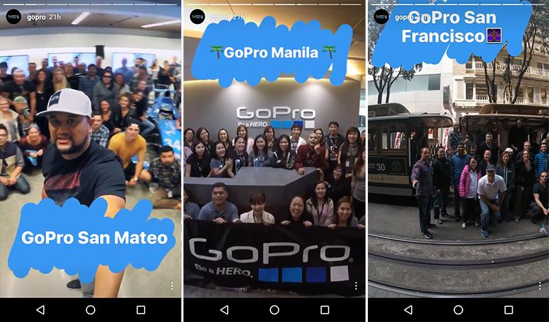 В историях GoPro постоянно появляются селфи их сотрудников