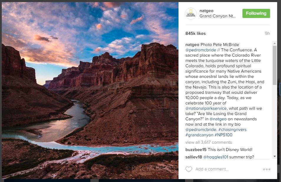 National Geographic опубликовал снимок Гранд-Каньона в Инстаграме
