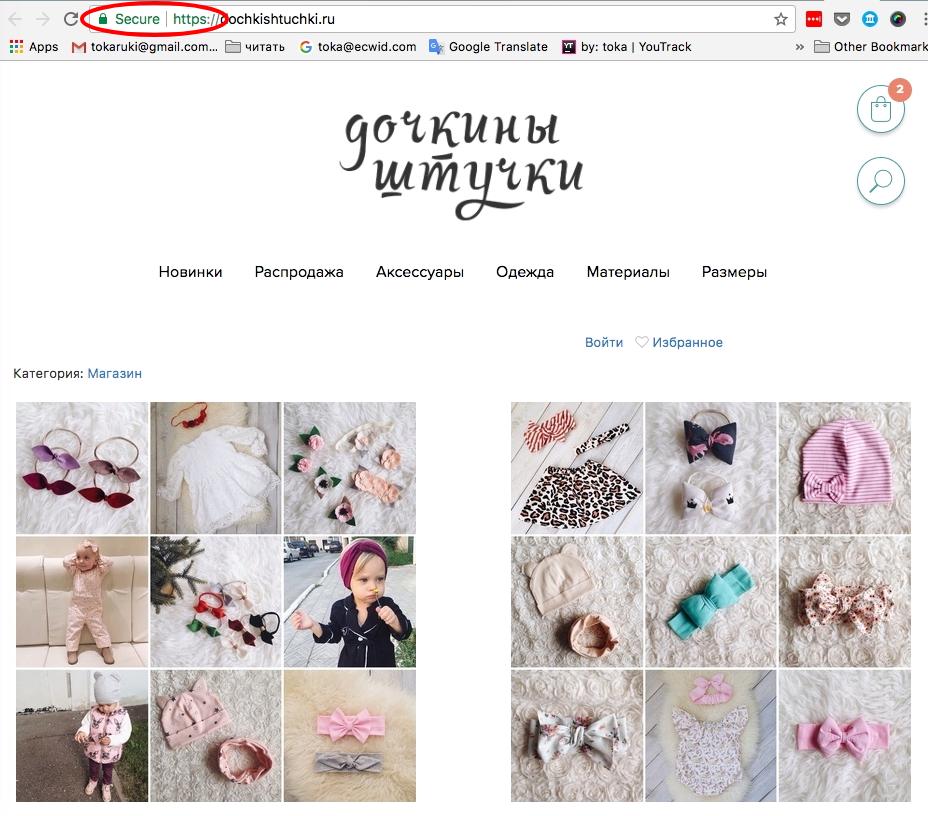 Магазин «Дочкины штучки» на стартовом сайте Эквида с подключенным SSl сертификатом