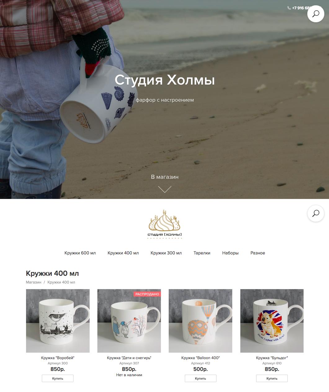 Пример оформления Стартового сайта. Интернет-магазин arthills.ru