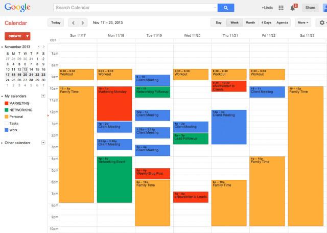 Расписание на неделю в Google Календаре