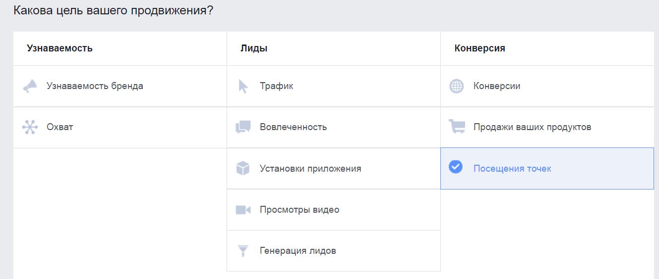 В Фейсбуке есть специальная цель «Посещения точек» для привлечения клиентов в место продаж.