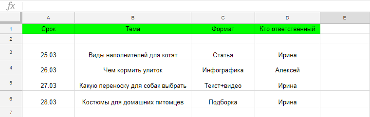 Пример оформления контент-плана