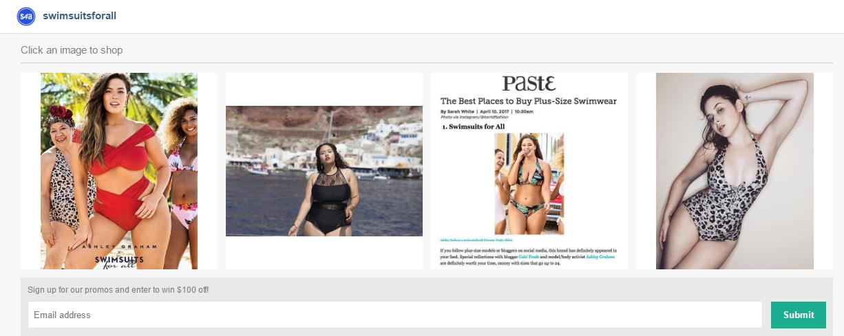 Страница Инстаграм-аккаунта @swimsuitsforall на платформе Like2Buy