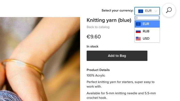 Покупатель может выбрать удобную валюту, цена пересчитается автоматически