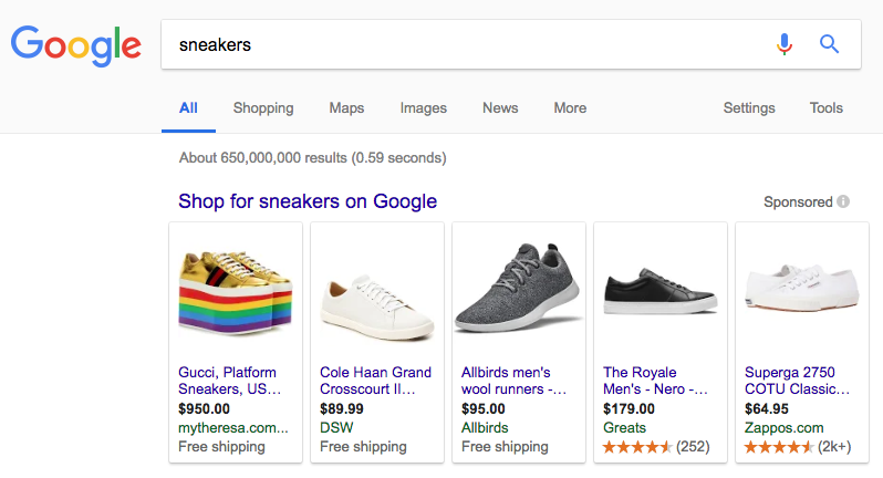 Объявления в Google Shopping