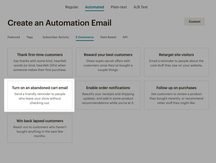 Настроить отправку напоминаний о брошенных корзинах в Mailchimp можно здесь