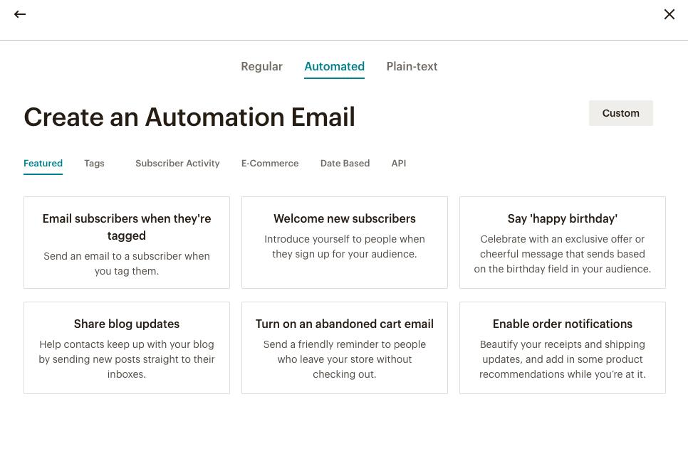 Интерфейс настройки автоматической рассылки в Mailchimp