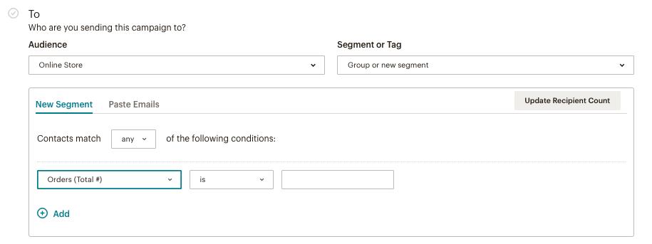 создать новый сегмент в Mailchimp