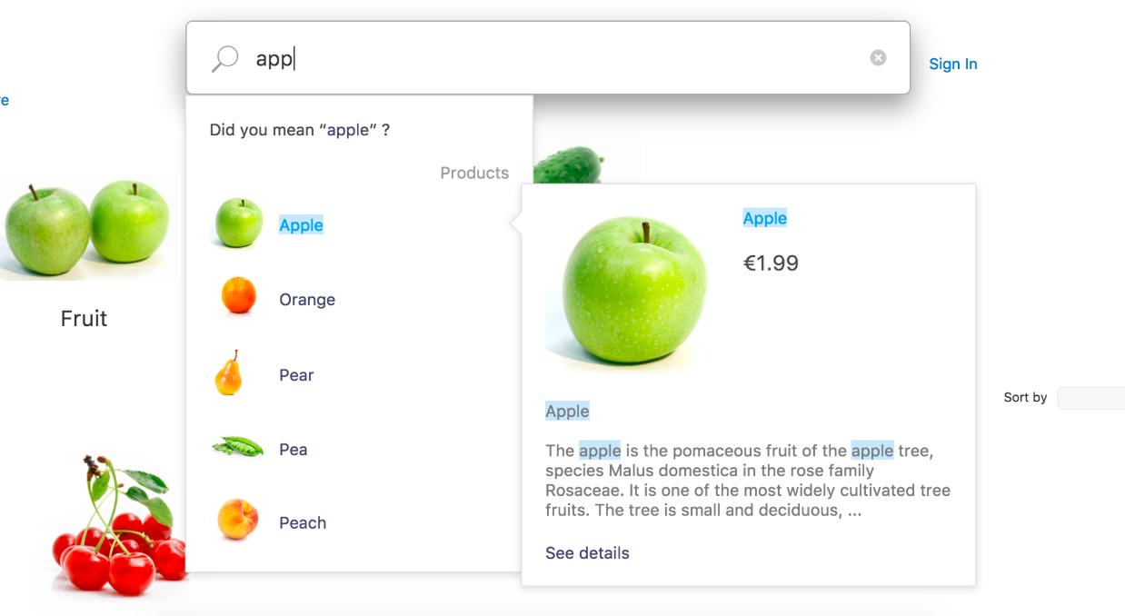 Пользователь набирает название товара и сразу видит подходящие товары