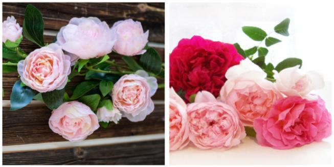 Слева — цветы из шелка, латекса и силикона, справа — живые пионы