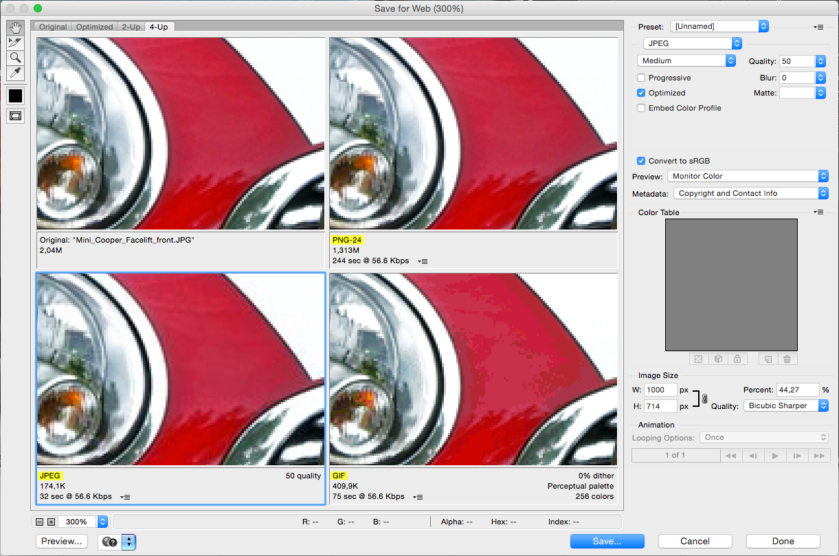 Сохранение фотографии в разных форматах: GIF, JPEG, PNG