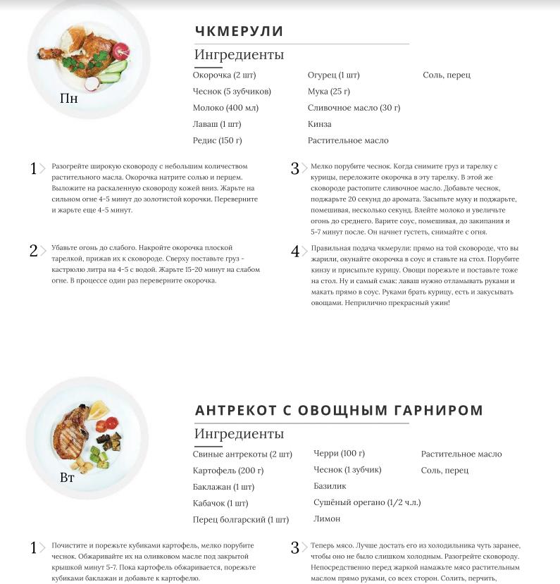 Фрагмент недельного меню домашних ужинов