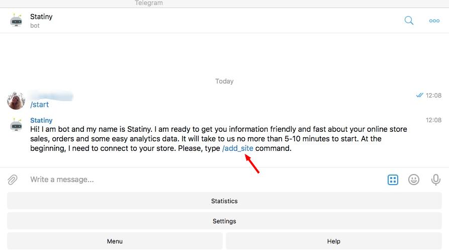 """Нажмите в Телеграме """"Start"""" и /add_site"""