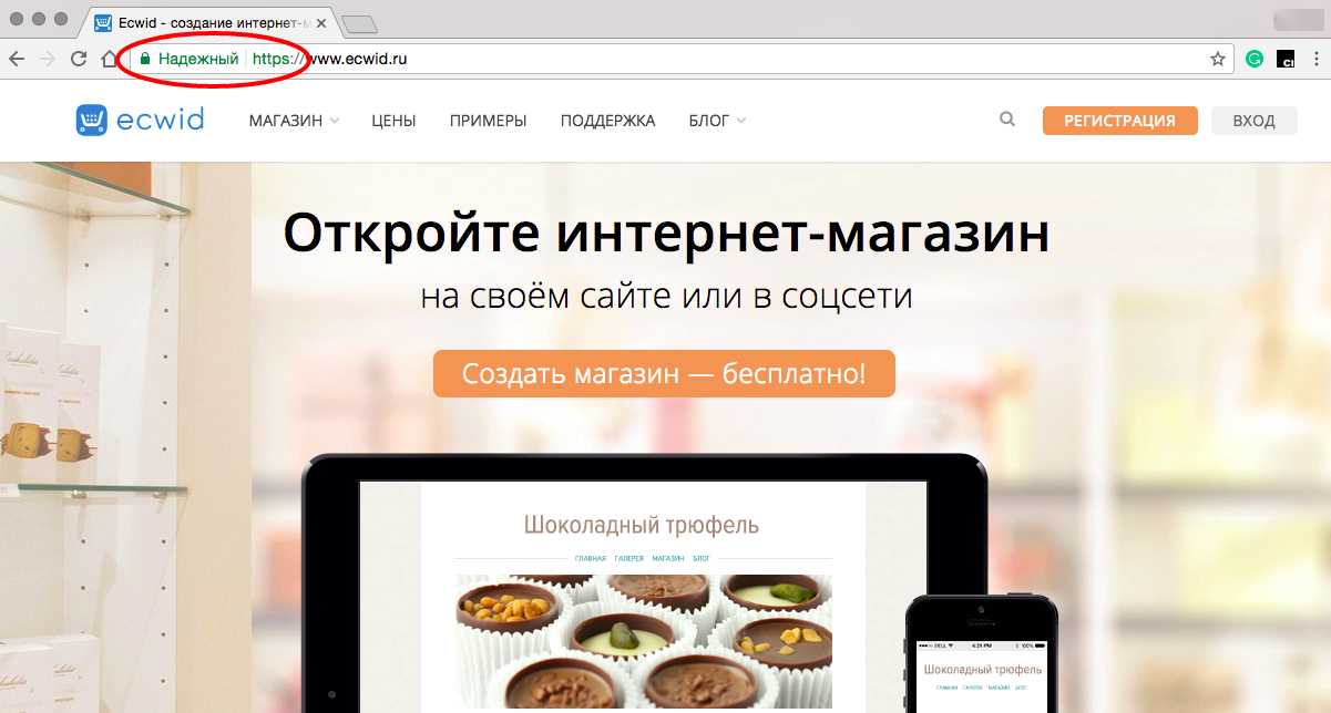 Сайт, защищенный SSL сертификатом, видно по протоколу https перед url-адресом и иконке в виде замочка