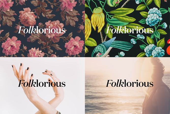 Folklorious используют цветочный мотивы, но строгую типографику
