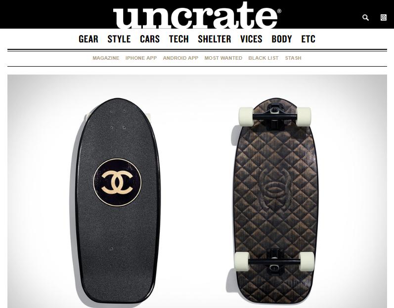 Скейтборд от Chanel — один из примеров необычных товаров, которые можно найти на Uncrate
