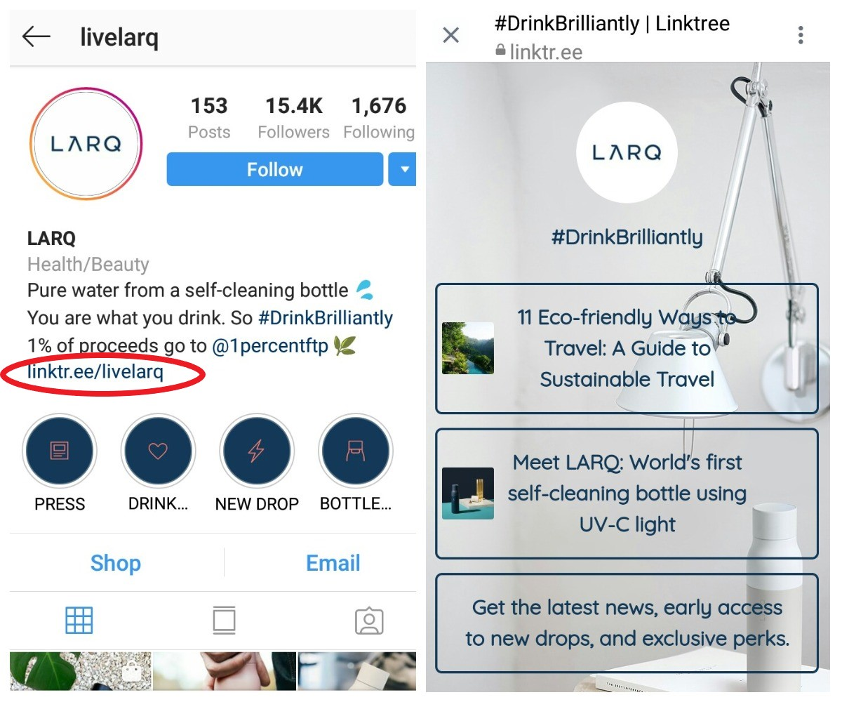 Verkauf auf instagram linktree