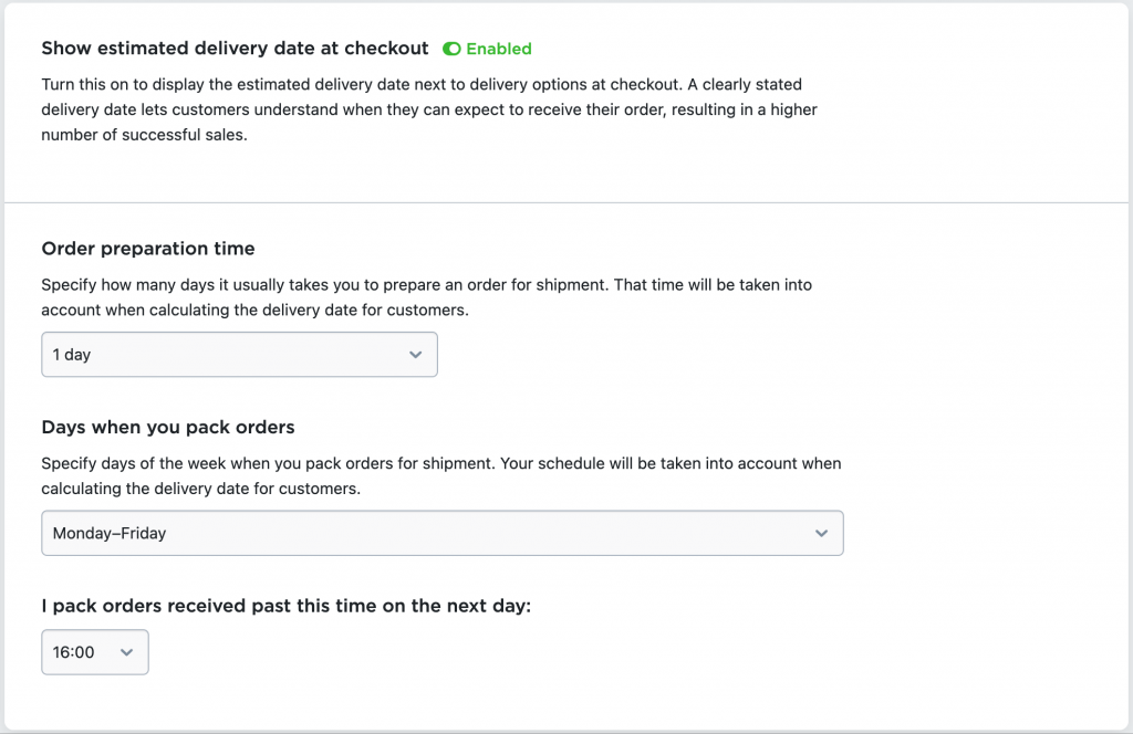 show estimated delivery date settings ecwid