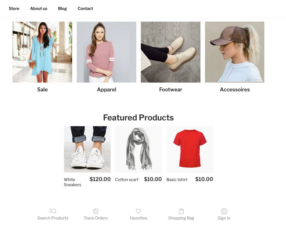 Shop-Homepage E-Commerce-Block für Wordpress