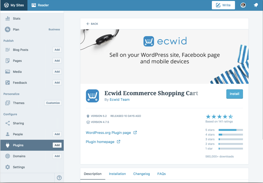 Ecwid plugin page will open where you need to find the